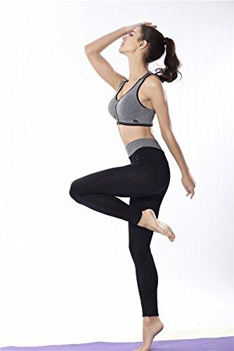 Damen Trainingsanzug Yoga Fitness Nahtlose Racerback Bra + Hosen Sets Workout Sportbekleidung Grau
