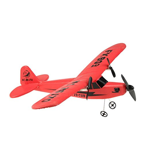 Fernbedienung RC Hubschrauber Flugzeug Segelflugzeug Flugzeug EPP Schaum 2CH 2.4G Spielzeug für kinder (Rot)