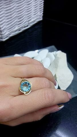 Aquamarine ring,prong setting ring,14k gold plated ring,gemstone ring,wedding ring,march birthstone