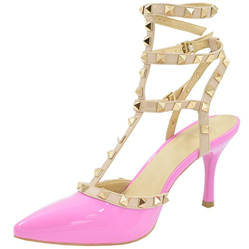 Women's Studded Patent Leather Contrast Stilettos&High Heel Pointed Toe Buckle Sandals Pêche