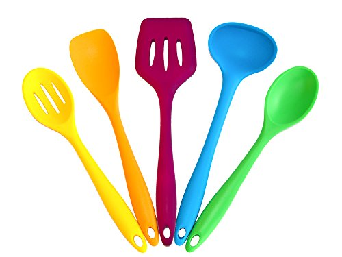 Colorful Cooking Silikon Küchenhelfer Kochset 5-teilig Kochlöffel