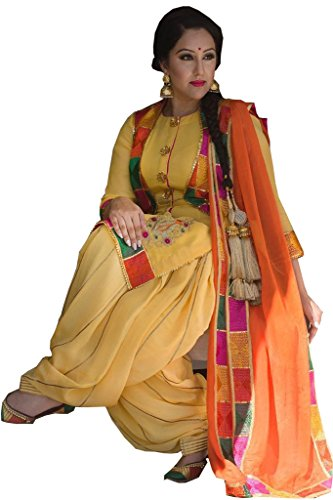 Women\'s Designer Party Wear New Collection Low Price Sale Offer Yellow Cotton Patiyala Free Size Semi Stitched Salwar Suit with Dupatta
