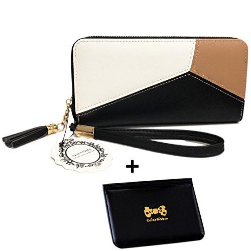 Damen Geldbörse,Newanima Multi-Card Position Zwei Falten Lange Reißverschluss Geldbörse Handhandtasche Vögel Muster (Style020-Schwarz)