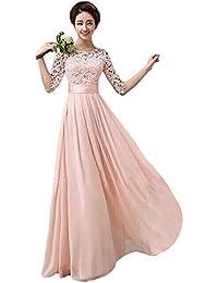 c09261ba86905 Women Crochet Half Sleeve Crochet Lace Top Wedding Bridesmaid Gown Prom  Dress
