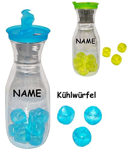 alles-meine.de GmbH 2 Stück _ Wasserkrüge / Kühlkrüge mit Kühlwürfeln - NEON Farben - incl. Namen - 1 Liter - Wasserkaraffe / Kunststoffkaraffe - Kühlflasche - Erfrischung Sommer..