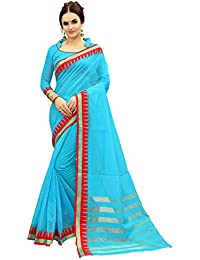 Glory Sarees Cotton Silk Saree With Blouse Piece (Silk105_Turquoise_Free Size)