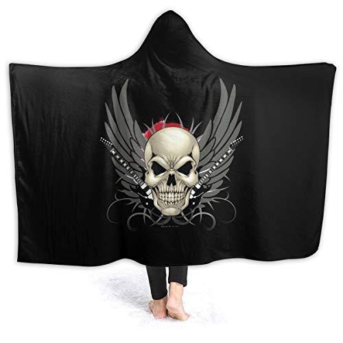 """WUQIAN Wing Skull Tattoo tragbare Decken, 3D-Bedruckt, weiche Kapuze, passend für Kinder, Erwachsene, Teenager, Flanell, Schwarz, 50""""x40"""""""