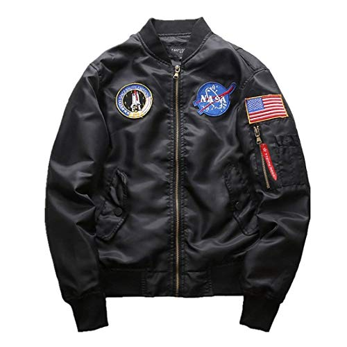 Herren NASA Motiv Stickerei Langarm Flug Fashion Stepp Bomberjacke Mantel Stehkragen Oberbekleidung Pilotenjacke (Color : Schwarz, Size : S)