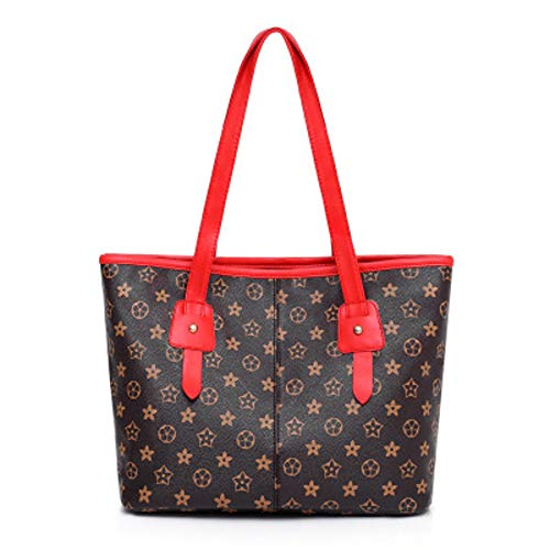 Preisvergleich Produktbild Weiblicher großer Beutel der alten Blumenumhängetasche 2019 neue weibliche Handtasche des weiblichen Beutels wasserdichte weiche Tasche der weiblichen Tasche (Red, 34×14×27cm)