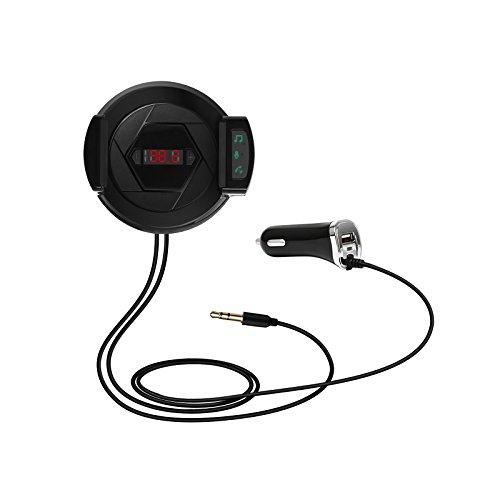 LeaningTech Bluetooth FM Transmitter Hi-Fi Kabellos Radio Adapter Auto FM Empfänger, 3 in 1 Kit mit Kfz-Ladegerät, Anruf handbefreit, Handy Halter (Fm-empfänger Für Handy)