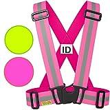 Warnweste / Reflektorweste / Sicherheitsweste einstellbar leicht und elastisch mit Identifizierungslabel für Notfälle - Sicherheits zubehör für Erwachsene und Kinder - Gelb / Rosa. Zum Laufen Motorrad (Rosa, KIDS)