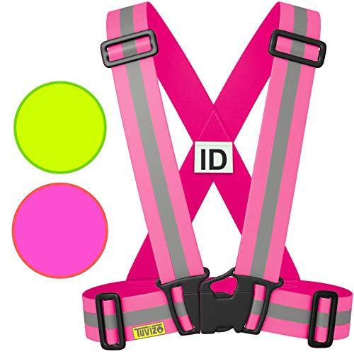Gilet alta visibilita / Bretelle Giubbotto catarifrangenti / Giacca riflettente alta visibilità sicurezza moto / Pettorina catarifrangente per una migliore visibilità - Tuvizo - Rosa Pink - S M L