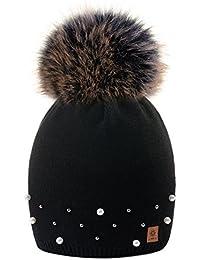 MFAZ Morefaz Ltd Winter Beanie Invernale Berretto Donne Cappello Perla  Finta Pom Pom Fodera in Pile bb5d408c8bbd