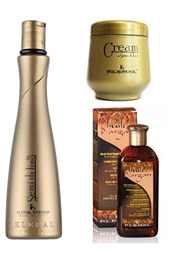 kleral-semi-de-lino-champu-300-ml-acondicionador-250-ml-aceite-de-argan-70-ml-combo