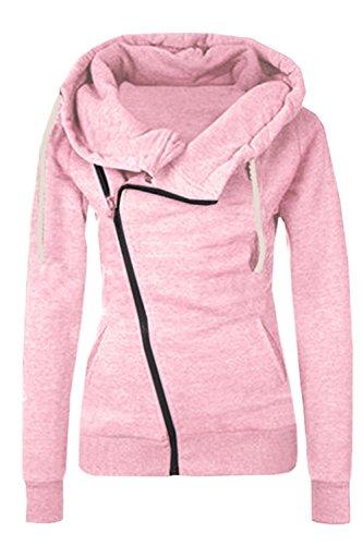La Mujer Casual Cremallera Con Capucha Chaqueta Sudadera Oblicua Pink XS