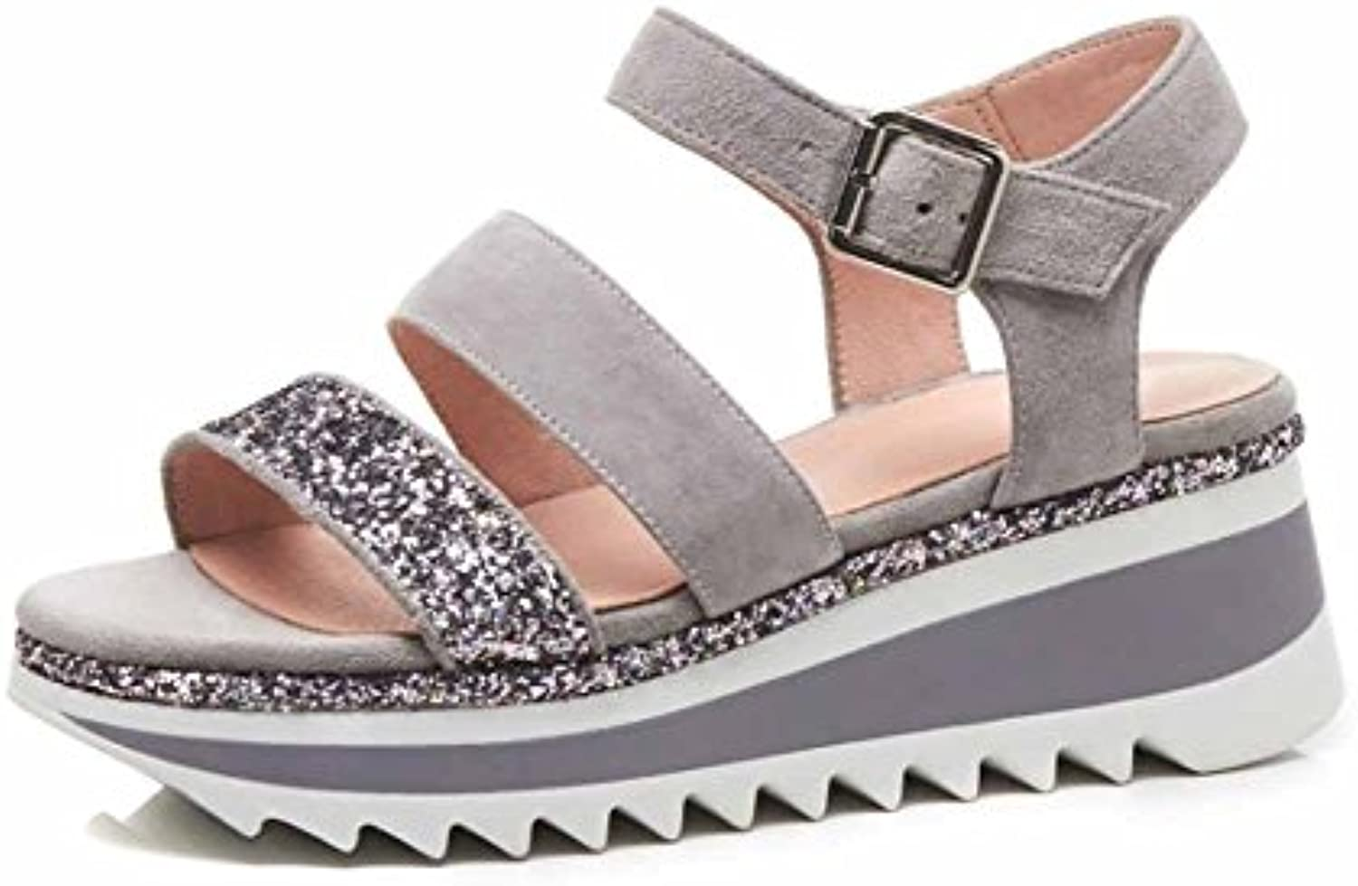 846bcb147453 Women Wedge Platform Sandals 2018 2018 2018 Summer Thick-soled Open Toe  Sandals Non-Slip Waterproof Leather Genuine Casual... B07DHSKCWH Parent  a328ab