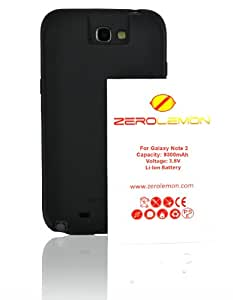 [180 days warranty] ZeroLemon Samsung Galaxy Note II 9300mAh Extended Battery + Free Black Extended TPU Full Edge Protection Case with 180 days Zero Lemon Guarantee Warranty (Compatible with Samsung Galaxy Note II GT-N7100, T-Mobile Galaxy Note II SGH-T889, Sprint Galaxy Note 2 SPH-L900, At&t Samsung Galaxy Note II SGH-i317, and Verizon SCH-i605) With 180 Days ZeroLemon Guarantee Warranty - WORLD'S HIGHEST NOTE 2 BATTERY CAPACITY - Black