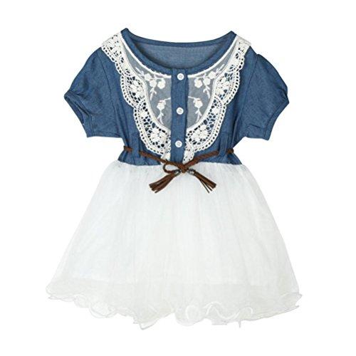 ongff Baby Mädchen Denim Kleid Spitze Kurzarm T-Shirt Kleid Prinzessin Tüll Tutu Kleid Kleidung Cowboy Spitze Sweet Prinzessin Kostüm mit Gürtel (100, Dunkelblau) (Kleinkind-cowboy Kostüme)