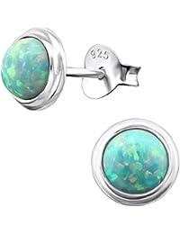 Damen Ohrringe Ohrstecker 925er Sterling Silber Grüne Achat 7 mm Rhodiniert