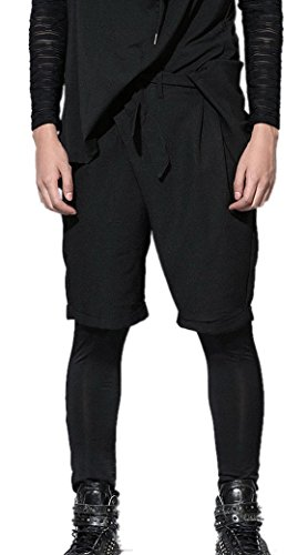 Panegy Sarouel Short Lâche Homme Elastique Sport Harem Baggy Hip Hop en Nylon Pantalons de survêtement Casual Bouffant Garconne Harem Jogging Danse Scolaire étudiant Noir(non legging) Noir