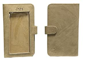 Jo Jo A11 Omni Leather Carry Case Pouch Wallet S View For Videocon Infinium Z50 Nova Tan