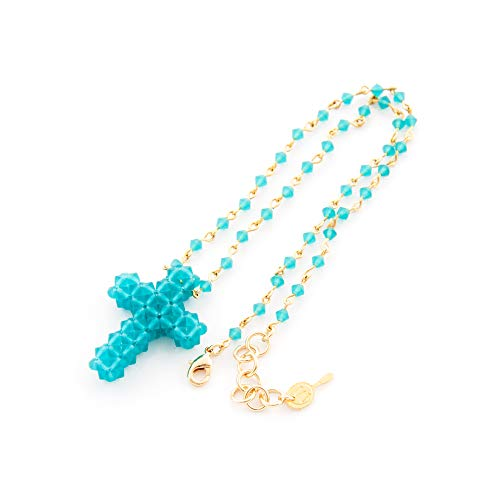 Kurze Halskette Frau Halsband. Rosenkranzkette in verschiedenen Farben kombiniert mit Kreuzanhänger. Handgefertigt mit Swarovski Tupis.Blaues Meer