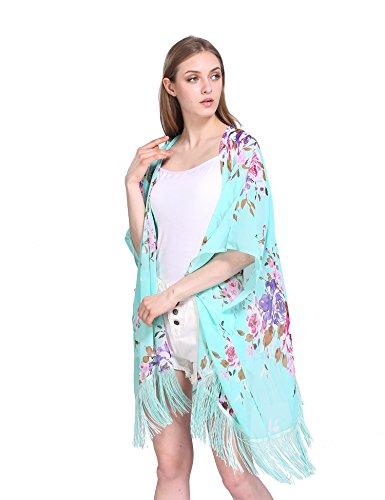 Donna Estate Fiori azteco kimono - Grande Aperti Capo Casual Cardigan Turchese