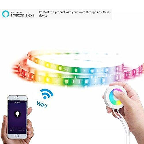 Lombex Intelligente W-LAN LED-Lichtstreifen Flexibles Tape mit Alexa und Google Home Steuerung Remote Voice Control RGBW Die Farbe Wechselndes Streifen-Stimmungslicht LEDSchleife DIY … - Remote Google