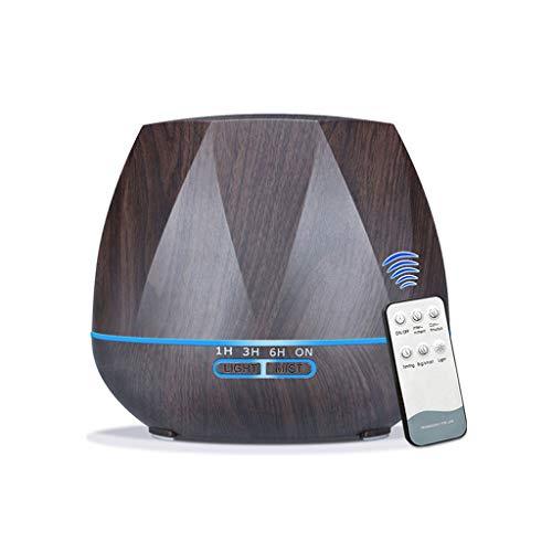 500ML Control Remoto Humidificador de Aire Aceite Esencial Difusor Humidificador Mist Maker LED Aroma Difusor Home Office Regalo Pareja Creativa (EU) (Deep Wood)
