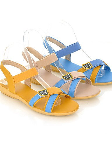 LFNLYX Scarpe Donna-Sandali-Matrimonio / Tempo libero / Ufficio e lavoro / Formale-Comoda / Punta arrotondata-Piatto-Finta pelle-Blu / Giallo / Yellow