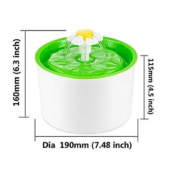 Roblue Fontaine à Fleur Distributeur Automatique D'eau en Circulation pour Chiens Chats Animaux sans Tapis Spécifications Européennes 22.5*12.3*19.3cm