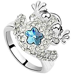 AmDxD Joyería Chapado en Oro Anillos de Aniversario para Chicas Rana Flor Océano Azul Tamaño 13,5