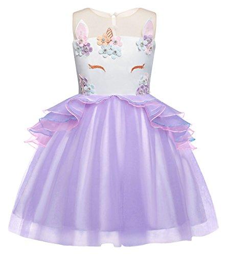 AmzBarley Vestido Princesa Unicornio Fiesta Niña Tutu Cosply Cumpleaños,Disfraz Tutu Princesa Bella Unicornio Infantil Niña Frozen Traje para Halloween Ceremonia Carnaval Púrpura 2-3 Años 100