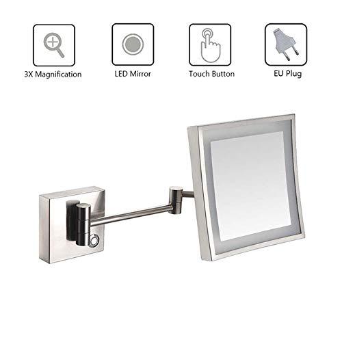 L.TSA Espejo de Maquillaje Espejo de Afeitar para baño Montado en la Pared LED Iluminado con Pantalla...