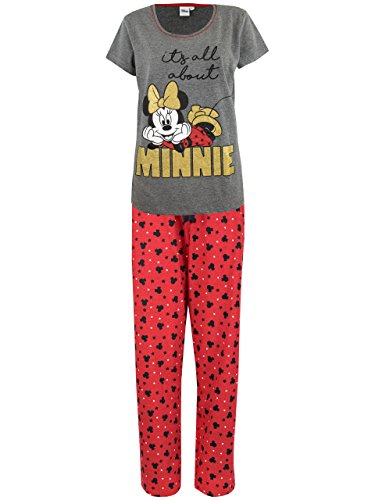 Disney Pijama para Mujer - Minnie Mouse - Rojo - Medium