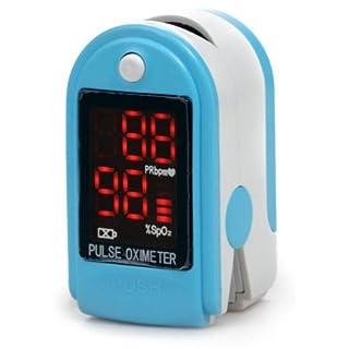 AVAX AV-50DL - Fingerpulsoximeter (Finger Pulse Oximeter) -%SpO2 (Sauerstoffsättigung des Blutes) & Herzfrequenzmesser mit LED-Anzeige und Zubehör - HELLBLAU