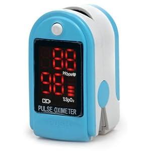 AVAX AV-50DL – Fingerpulsoximeter (Finger Pulse Oximeter) -%SpO2 (Sauerstoffsättigung des Blutes) & Herzfrequenzmesser mit LED-Anzeige und Zubehör – HELLBLAU