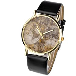 JS Direct 1x 38mm Women's Men's Unisex Quartz Wrist Watch, Casual Antique Style With 3-Hand World Global Map Design,PU Band, 5 Colors (Black Band)
