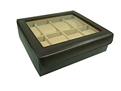 Essart PU Leather Watchbox for 8watches-Brown