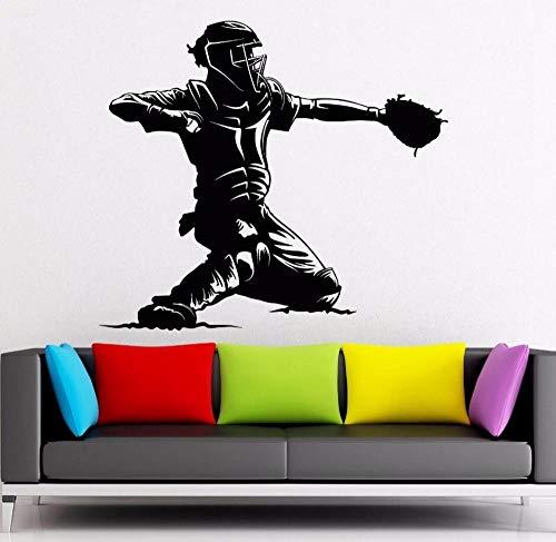 Baseball Catcher Player Wandaufkleber Sport Mann Fan Wandbild Home Wohnzimmer Design Baseball Decor 64 * 57 cm ()