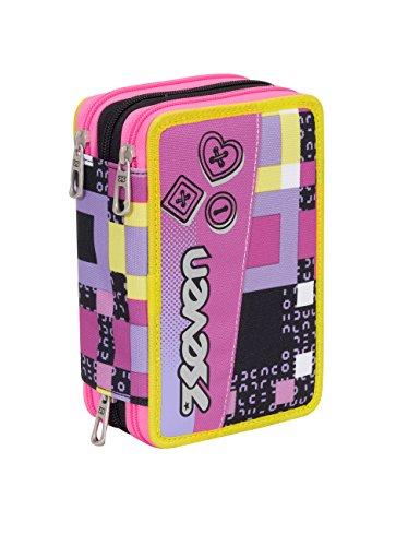 Astuccio scuola seven - bundle girl - 3 scomparti - pennarelli matite gomma ecc.. rosa nero giallo