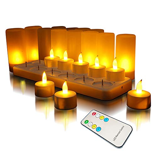 QSPORTPEAK 12 LED Velas, Recargables sin Llama Velas, Centelleante,LEDs Soporte De Carga Estación,Navidad, boda, fiesta(Amarillo Con control remoto)