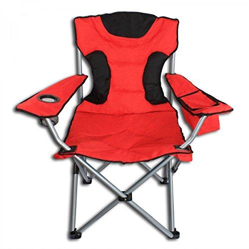 Campingstuhl XL mit Getränkehalter und Kühltasche - Anglerstuhl Faltstuhl Angelstuhl Klappstuhl rot/schwarz