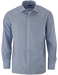 ETERNA Herren Comfort Fit Cotelé Langarmhemd blau/weiss gestreift