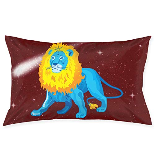 Rghkjlp Kissen Case Leo Zodiac Blue Pattern Novelty Cute Funny Soft and Cozy with Hidden Zipper 1pc Queen Size 20''X30''