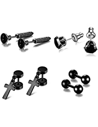 5011ac263178 FANSING Joyería Punk Negro Tornillo Crucifijo Pendientes Set Cheater Falso  Expansor Tunnel Plugs para Mujer y Hombre…