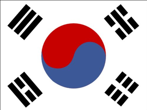 A4 South Korea National Flag Cake Toppers Decorations on Edible Rice Paper