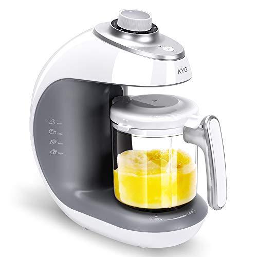 KYG Robot de Cocina al Vapor Procesador de Alimentos para Bebés 5 en 1 Máquina para Hacer Puré Smoothie Sopa y Zumo para Bebés, 430w, Color Blanco y Gris