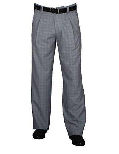 Karierte Herren Hose Retro-Vintage Stil, Swing Lindy Hop Herren Stoffhose mit Bundfalte in 50er 60er Swing Style Männer Hosen Größe 62