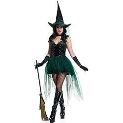 Halloween/traje/para las mujeres/falda sexy/fiesta/disfraz de bruja/cosplay]/ mascarada-verde L